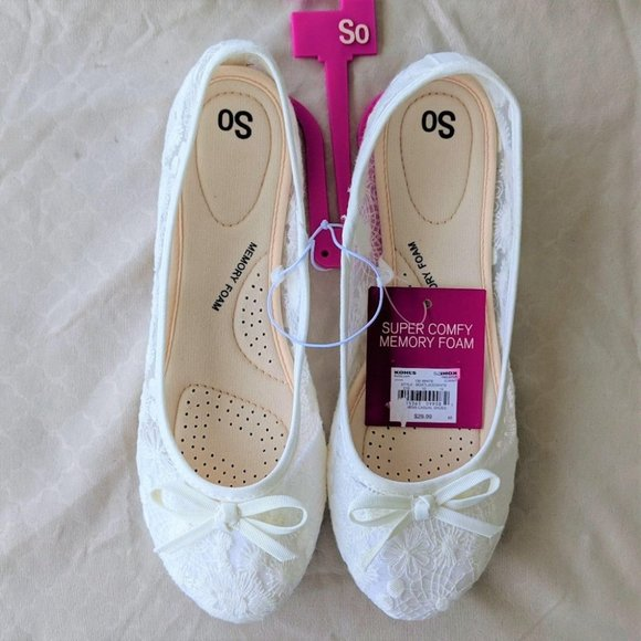SO Shoes - SO Lacy White Ballet Flats 8 (NWT)